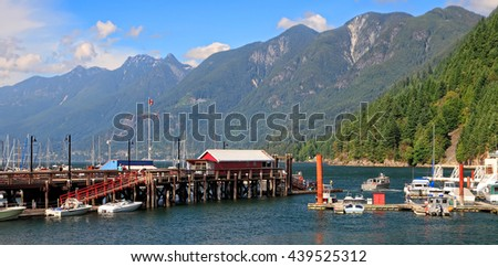 Harbor.Vancouver Island. Pacific ocean bay. Pier of the ships, yachts and boats. Mountains and green forests landscape. Distance view. British Columbia. Canada. Seasons. Summertime. Vacation. Travel