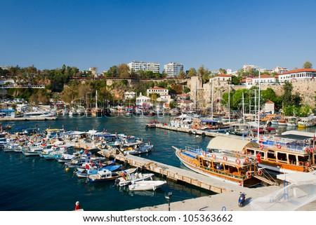Harbor with boats in Antalya Turkey - stock photo