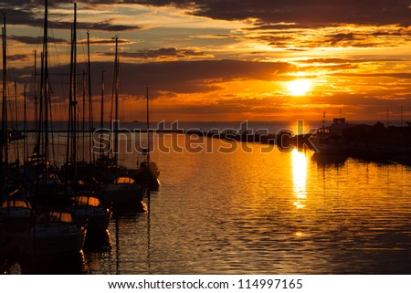 harbour and the yachts at dramatic sunset