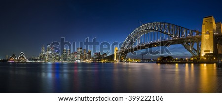 harbour bridge and opera house - stock photo
