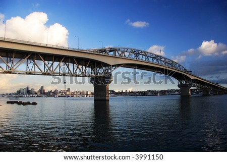 Harbour Bridge on a blue day, Auckland, New Zealand - stock photo