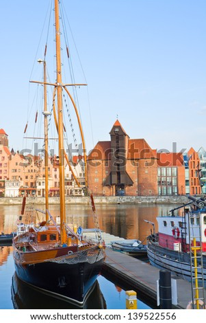 Harbour of Gdansk with Zuraw (oldest crane) ,   Poland - stock photo