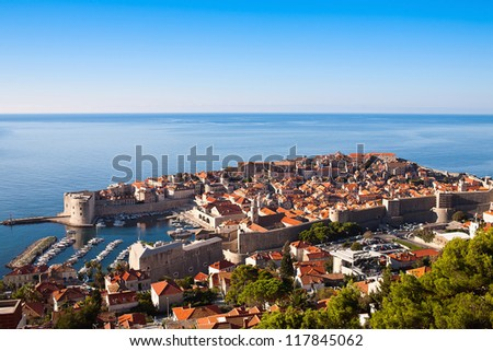 Harbour of old town of Dubrovnik, Croatia - stock photo