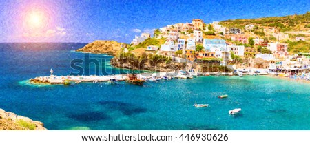 Harbour with marine vessels, boats and lighthouse. View from a cliff on a Bay with beach and architecture Crete - vacation destination resort, with secluded beaches and clear ocean water, Bali, Greece - stock photo