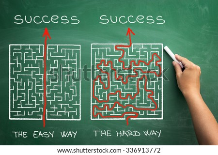 hard and easy way illustrated shown by maze on blackboard  - stock photo