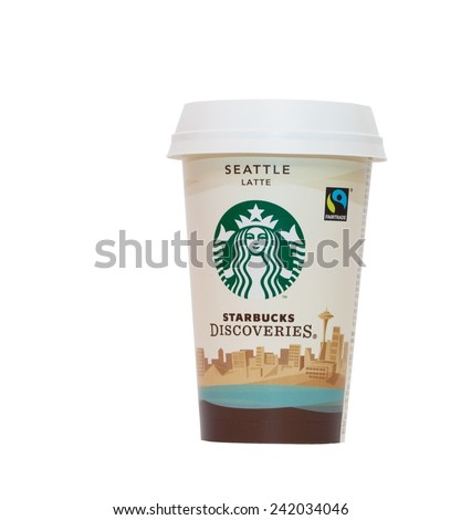 HARD, AUSTRIA - JAN 4, 2015 Cup of Starbucks coffee isolated on white background.  Starbucks is the largest coffeehouse company in the world based in Seattle, Washington. - stock photo