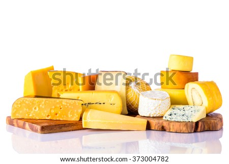 Hard Cheese, Soft Cheese, Blue Cheese isolated on white background