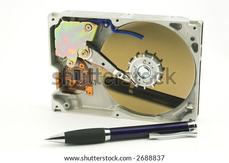 hard disc and  the pencil