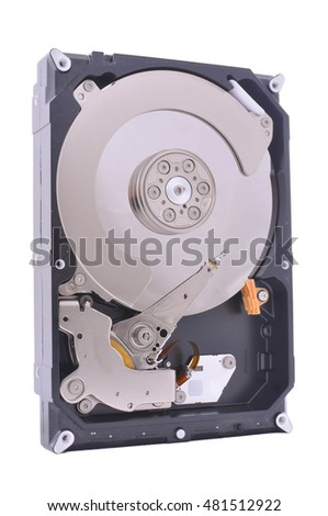 Hard disc drive isolated on white backround