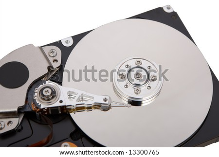 hard disc isolated on white background - stock photo