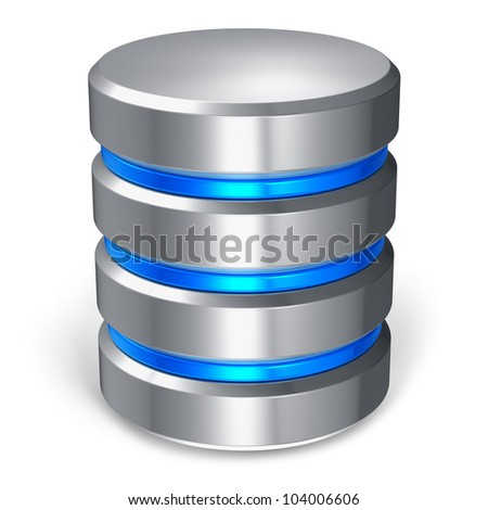 Hard disk and database icon isolated on white background - stock photo