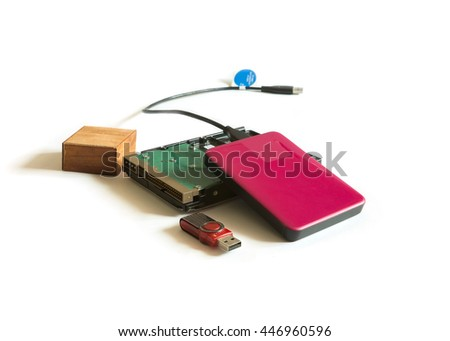 Hard disk and External hard disk isolated on white background - stock photo