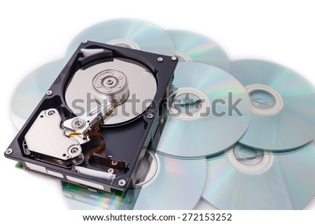 Hard Disk drives on disk stack with white background - stock photo