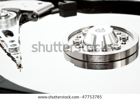 Hard disk without cover isolated on white background