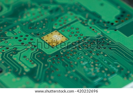 hard drive green pcb board with chip - stock photo