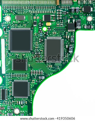 hard drive pcb board on white with copy-space - stock photo