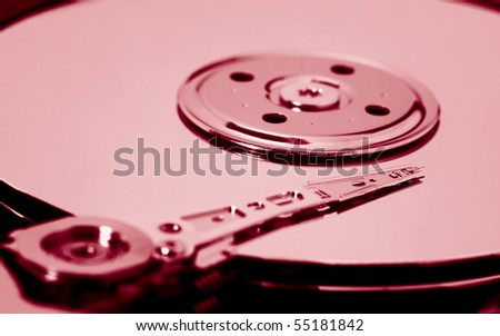 hard drive toned red - stock photo