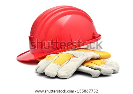 Hard hat and gloves - stock photo