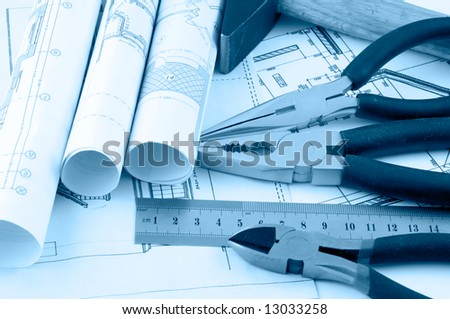 hard hat and working tools - stock photo