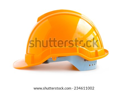 Hard hat for industrial workers, engineers & architect - isolated on white background - stock photo