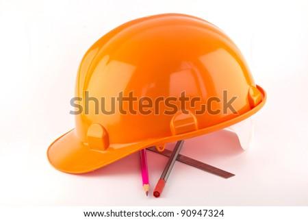 hard hat isolated on white - stock photo