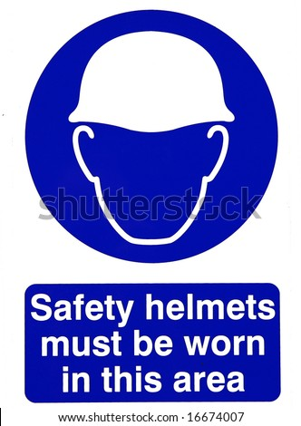 Hard hat safety sign - stock photo