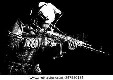 Hard light image of russian special forces operator  - stock photo