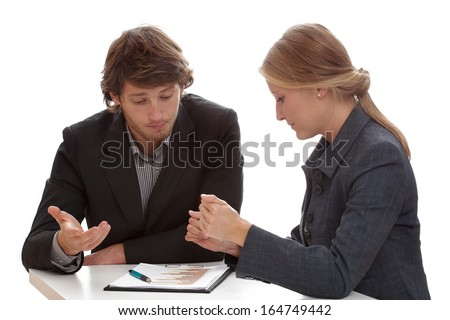Hard negotiations between two financial specialists working for banks - stock photo