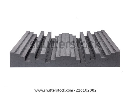 hard pressed Styrofoam insulation for noise in music studio or acoustic halls , professional studio insulation material , noise isolation , noise isolating protective and shock absorber Styrofoam - stock photo