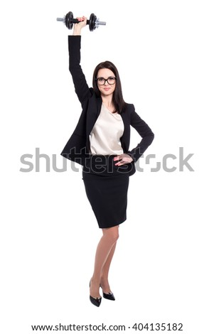 hard work and success concept - business woman with dumbbell isolated on white background - stock photo