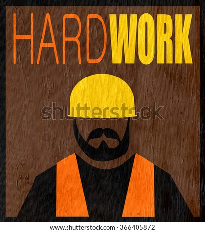hard work design with construction worker on wood grain texture - stock photo