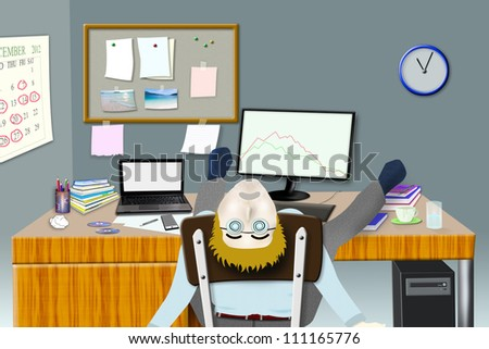 Hard work young businessman sleeping at his desk. - stock photo