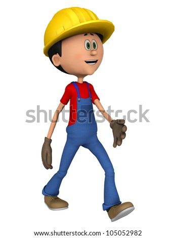 hard worker walking - stock photo