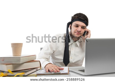 Hard working,businessman with office files on office desk isolated on white with clipping path
