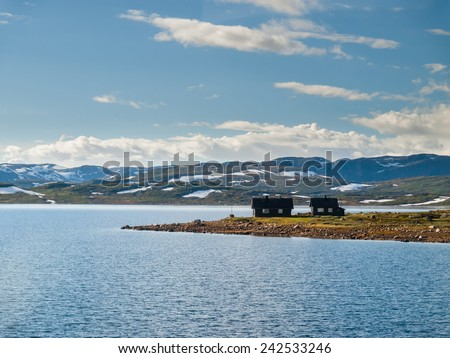 Hardangervidda - mountain plateau in central southern Norway - stock photo