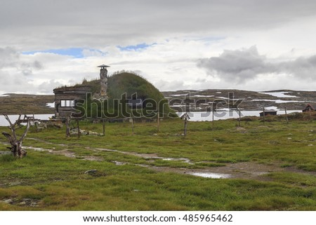 HARDANGERVIDDA NATIONAL PARK, NORWAY - JULY 2, 2016: This is stylized tourist center in the Hardangervidda national park.