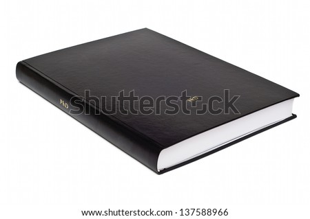 Hardbound doctoral dissertation isolated on white