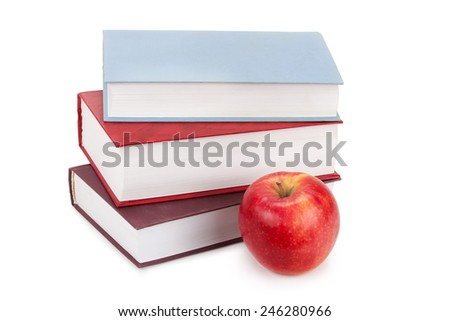 hardcover books and apple - stock photo