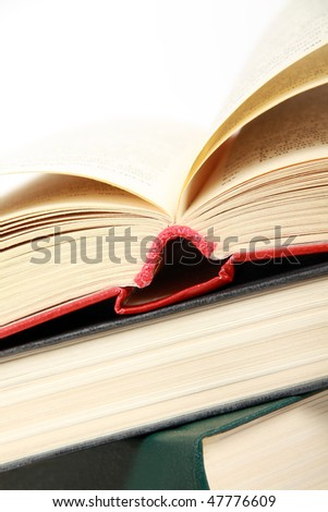 Hardcover books. Isolated on white - stock photo
