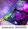 harddisk isolated on with fiber optical background - stock photo