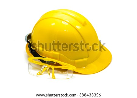 Hardhat with eye protection or goggles isolated on white background