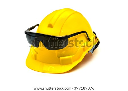 Hardhat with eye protection or goggles isolated on white background - stock photo