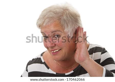 Hardness of hearing - isolated on white background - stock photo