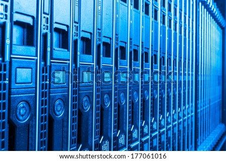 hardware in internet data center room - stock photo