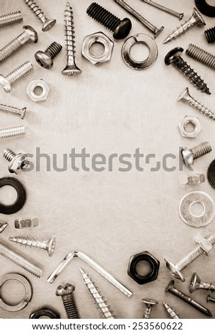 hardware tools at metal background texture - stock photo