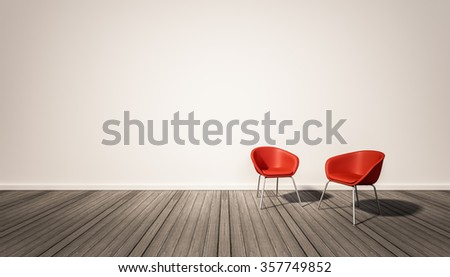 Hardwood floor and white wall, with red chairs, 3d rendered  - stock photo