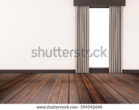 Hardwood floor with white wall and isolated window
