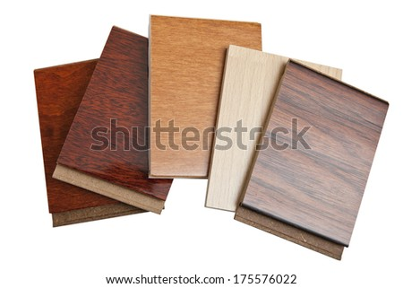 hardwood flooring samples isolated on white - stock photo