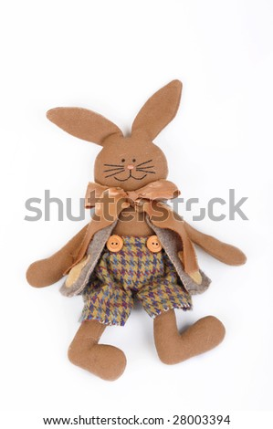Hare from clouts for hugging - stock photo