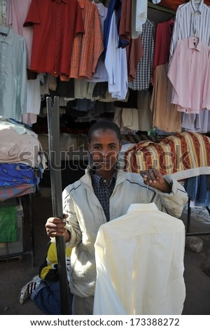 HARGEISA, SOMALIA - JANUARY 13, 2010:Hargeisa is a city in Somalia, the largest city and capital of the unrecognized state of Somaliland. Trading on a city street.